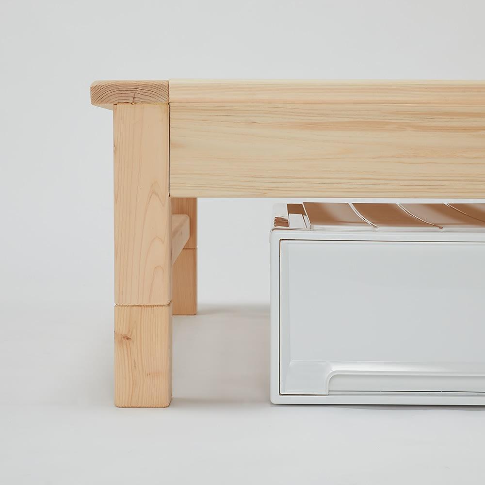 東濃檜 高さ調節すのこベッド 長さ200cm(幅80cm/幅98cm) 継ぎ脚設置時
