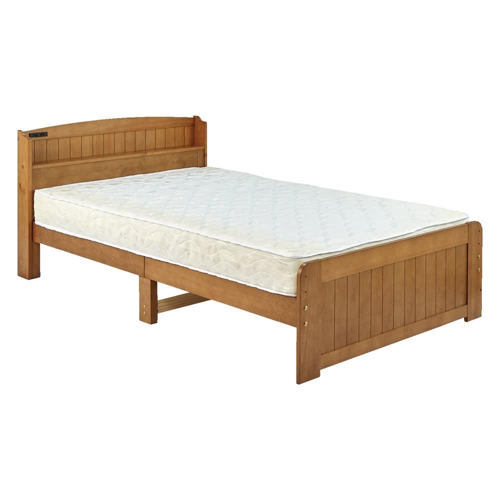高さ2段タイプ ナチュラルカントリーなすのこベッド フレームのみ セミダブル(イ)ライトブラウン ※お届けはフレームのみです。