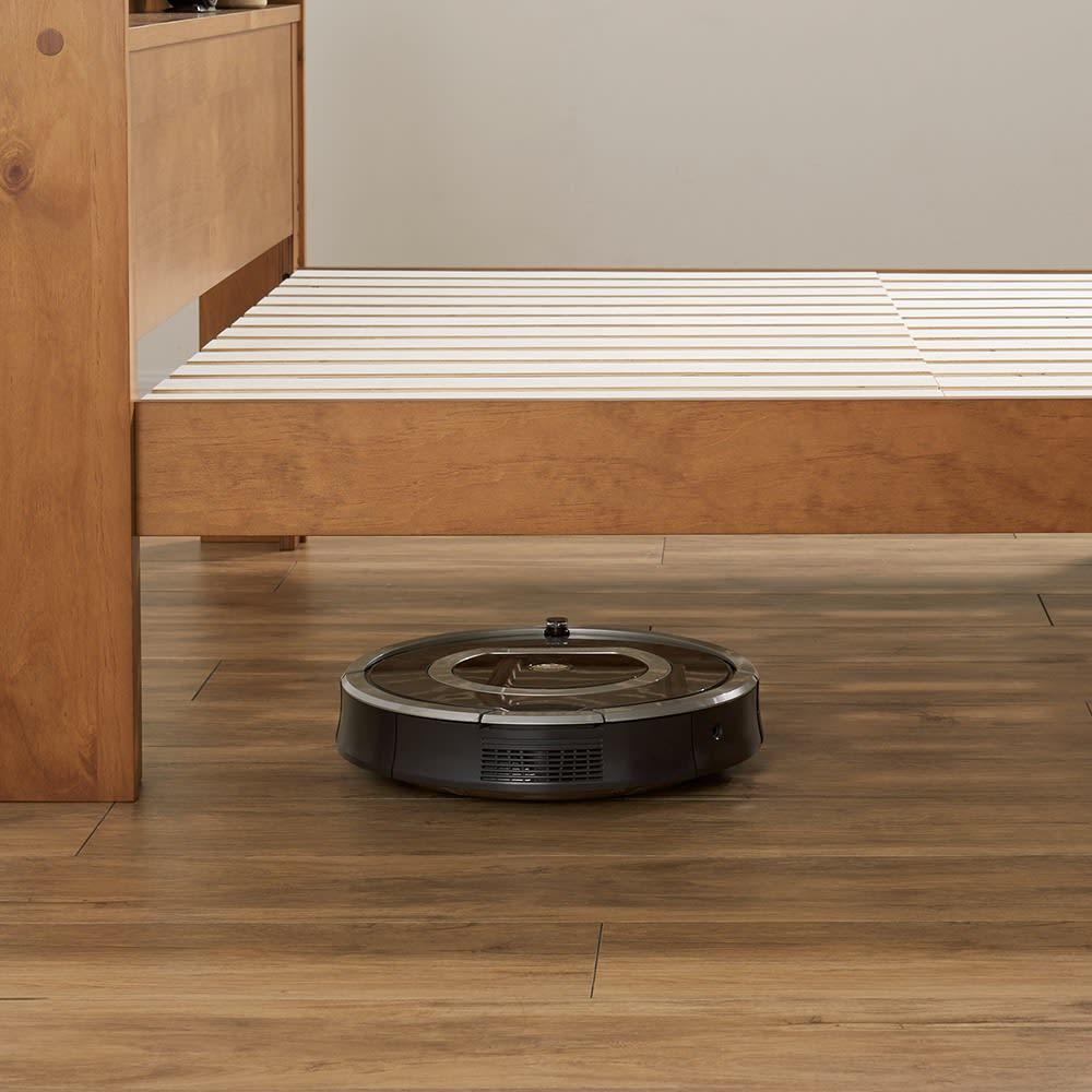 高さ2段タイプ ナチュラルカントリーなすのこベッド ポケットコイルマットレス付き 【ベッド下高さは2段階に調節可能】20cmならお掃除ロボットが通れます!