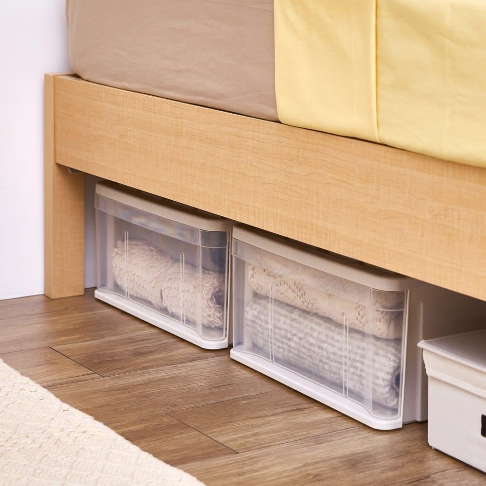 角あたりのない細すのこベッド 棚なし(国産ポケットコイルマットレス付き) ベッド下の空間には収納ケースなどを置くことができます。