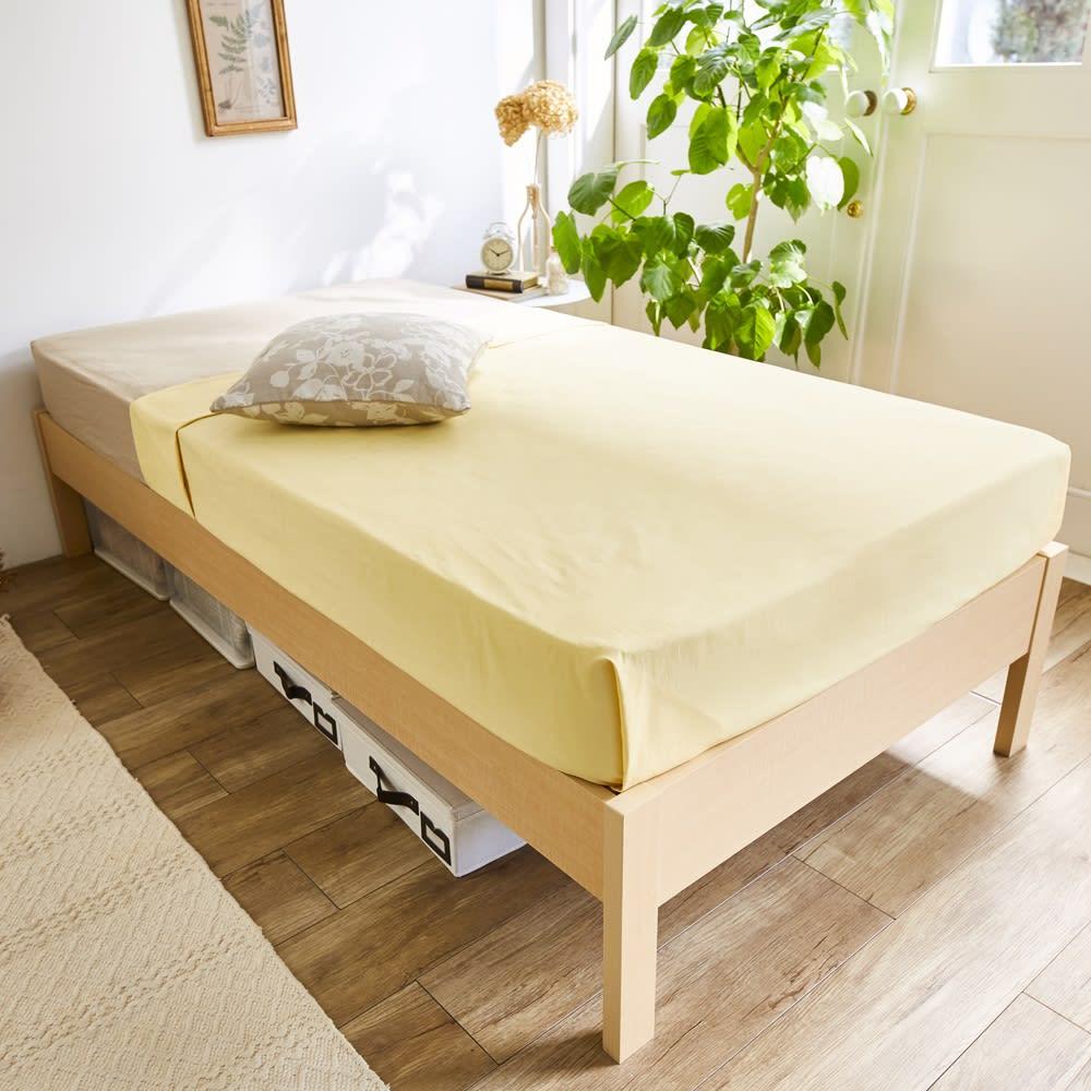 角あたりのない細すのこベッド 棚なし(国産ポケットコイルマットレス付き) (ア)ナチュラル ※お届けはベッドフレームのみです。