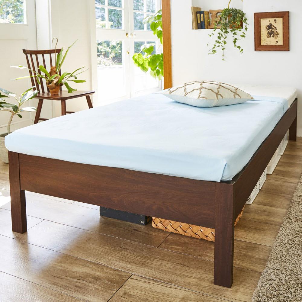 角あたりのない細すのこベッド 棚なし(国産ポケットコイルマットレス付き) (イ)ダークブラウン ※お届けはベッドフレームのみです。