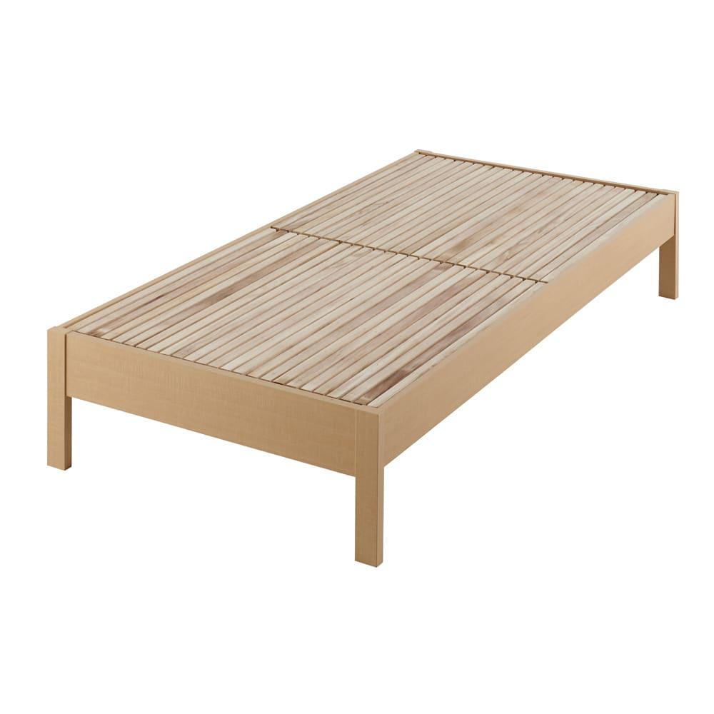 角あたりのない細すのこベッド 棚なし(国産ポケットコイルマットレス付き) (ア)ナチュラル
