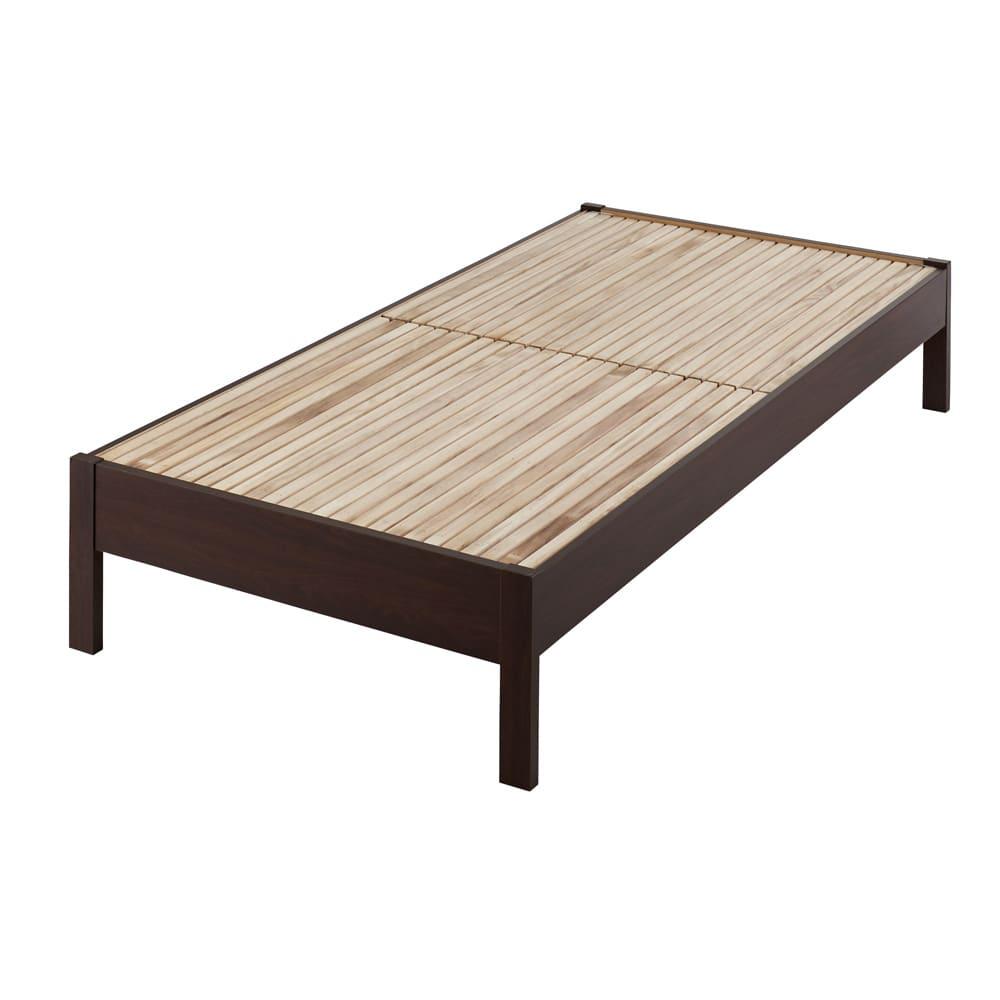 角あたりのない細すのこベッド 棚なし(国産ポケットコイルマットレス付き) (イ)ダークブラウン