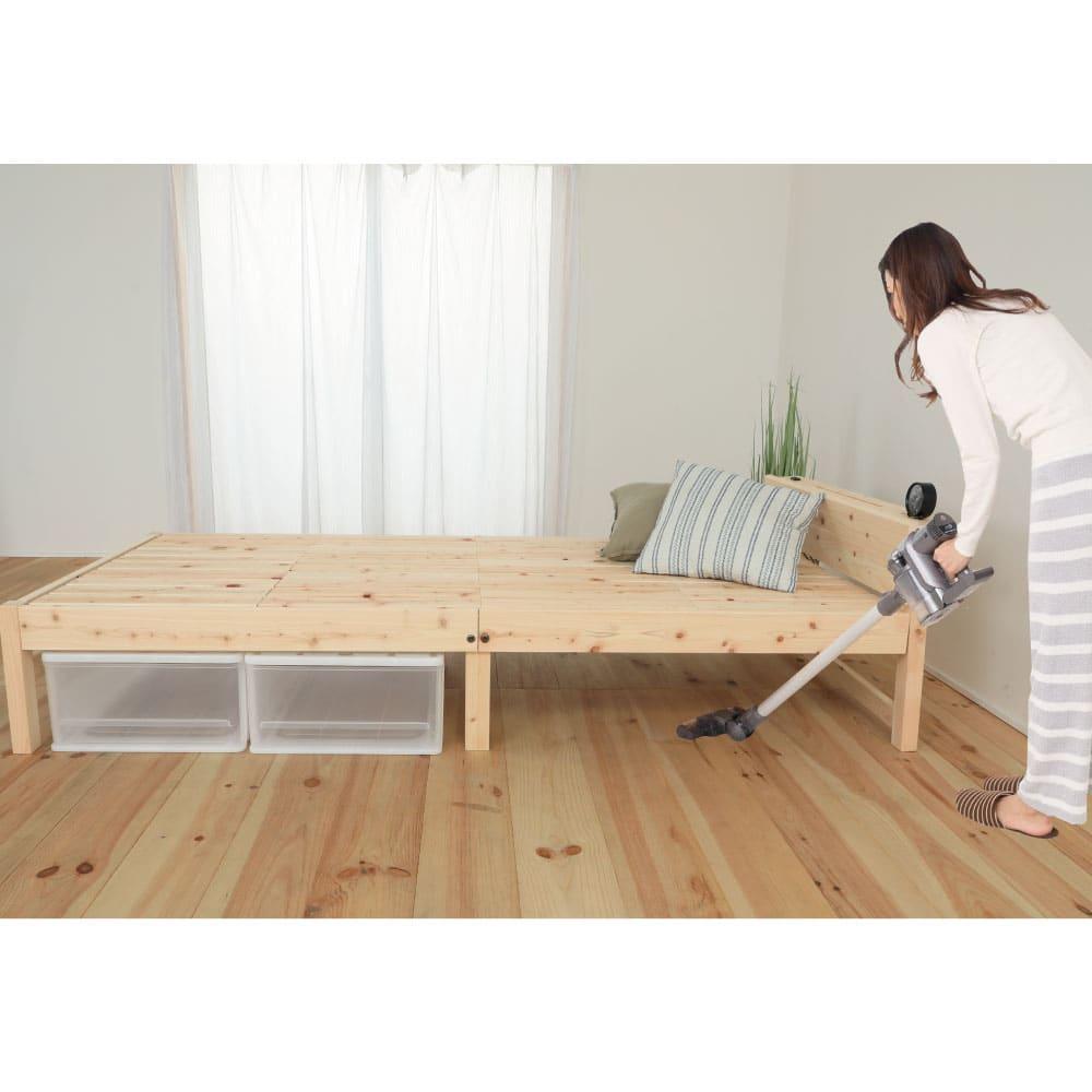 国産ひのき天然木すのこシングルベッド 棚あり お得な2点セット(フレームのみ) 脚高なので掃除もスイスイ。