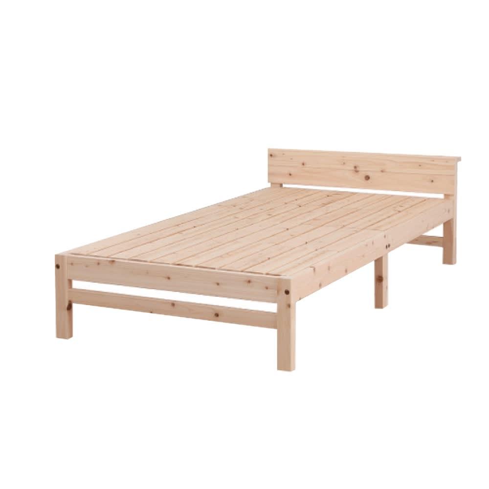 国産ひのき天然木すのこシングルベッド 棚あり(フレームのみ)