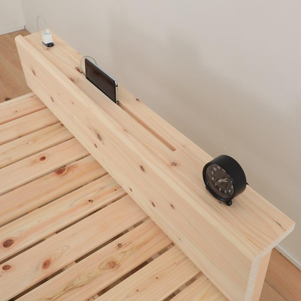 国産ひのき天然木すのこシングルベッド 棚あり お得な2点セット(ポケットコイルマットレス付き) 便利なスマホスタンドとコンセント付き。
