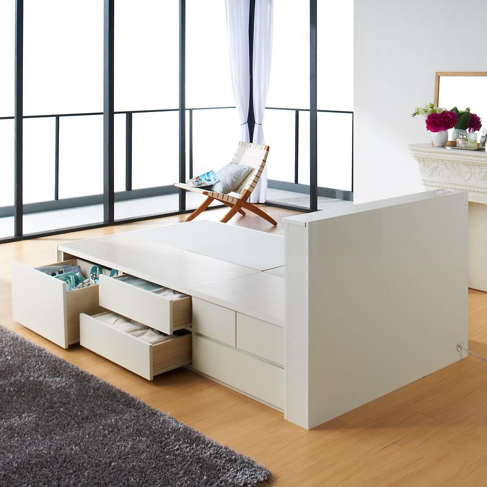 間仕切り仕様 大容量収納チェストベッド フレームのみ (ア)ホワイト ※写真はセミダブルタイプです。