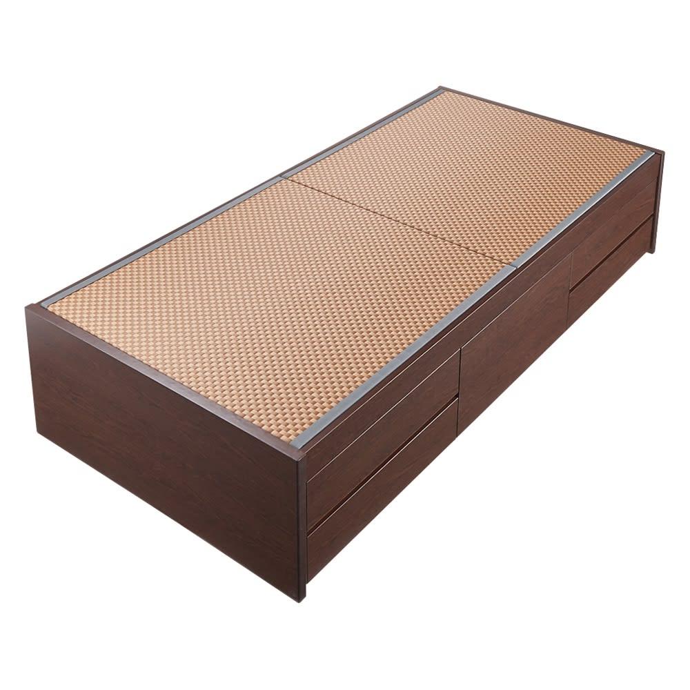 美草畳収納付きベッド 棚なし (イ)ブラウン ※写真はシングルサイズです。