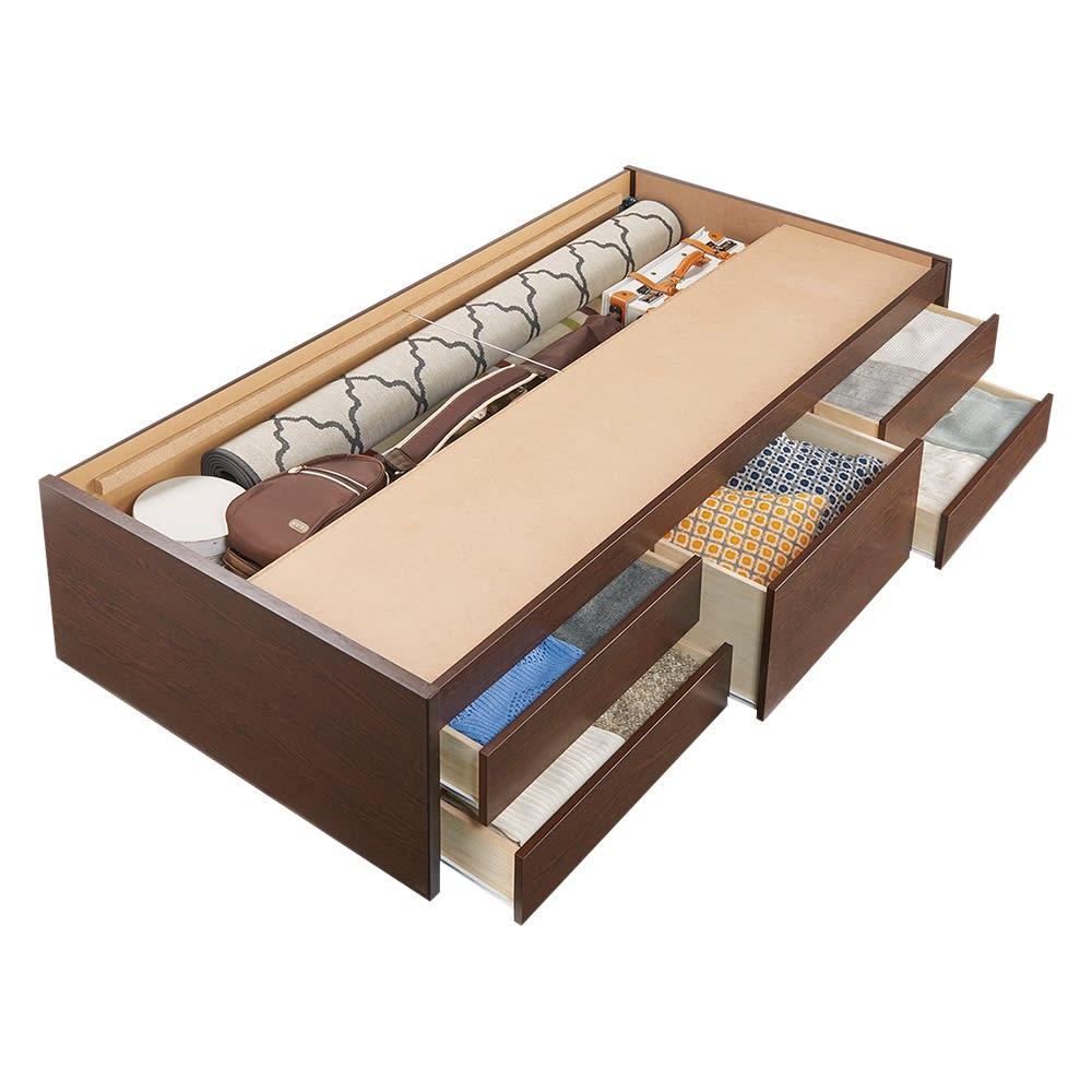 美草畳収納付きベッド 棚なし 収納イメージ 引き出しは左右どちらにも設置できます。 ※写真はシングルサイズです。