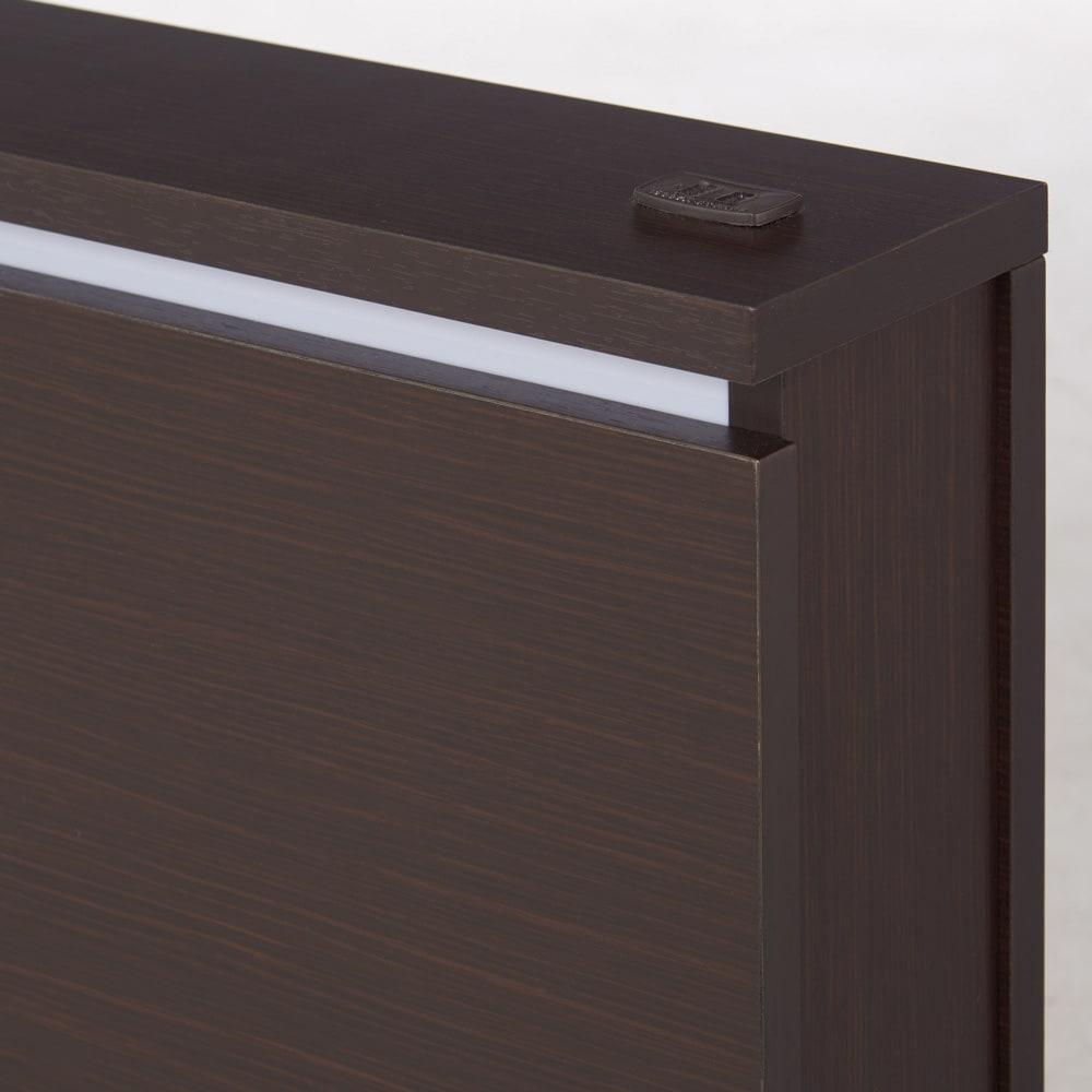 照明付きステージすのこベッド マットレス付き(国産ボンネルコイルマットレス付き) (イ)ダークブラウン