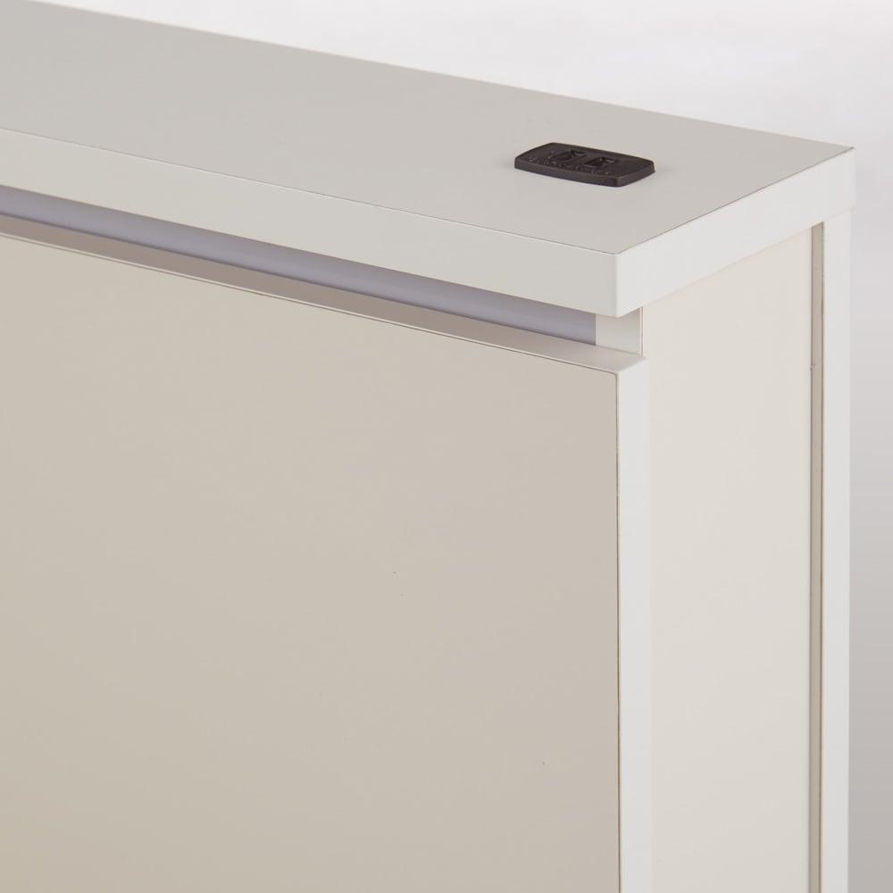 照明付きステージすのこベッド マットレス付き(国産ボンネルコイルマットレス付き) (ア)ホワイト