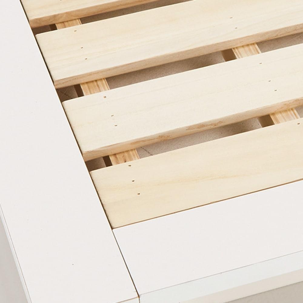 照明付きステージすのこベッド マットレス付き(国産ポケットコイルマットレス付き) 床板はすのこ仕様で布団もご使用できます。