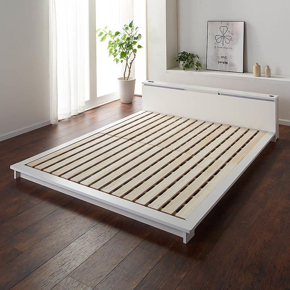 照明付きステージすのこベッド マットレス付き(国産ポケットコイルマットレス付き) ベッドフレーム…(ア)ホワイト