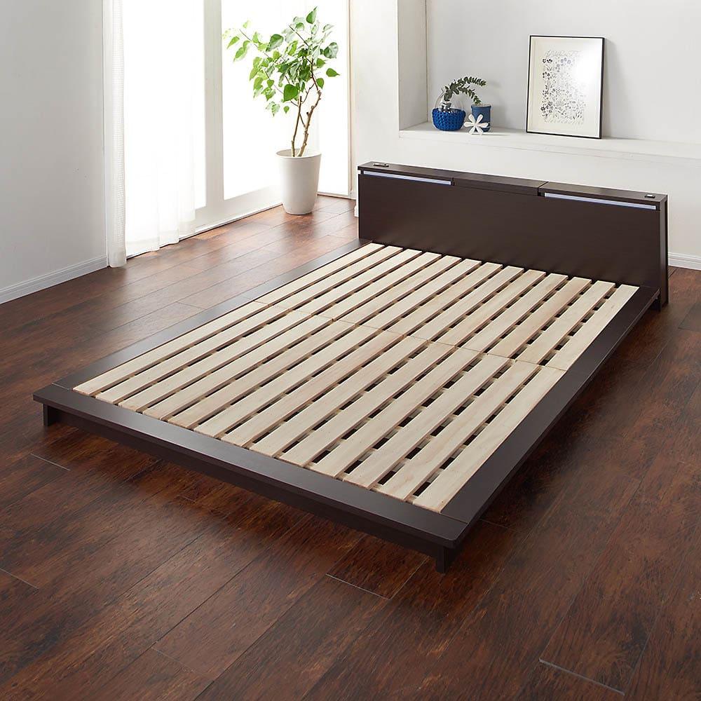 照明付きステージすのこベッド マットレス付き(国産ポケットコイルマットレス付き) ベッドフレーム…(イ)ダークブラウン