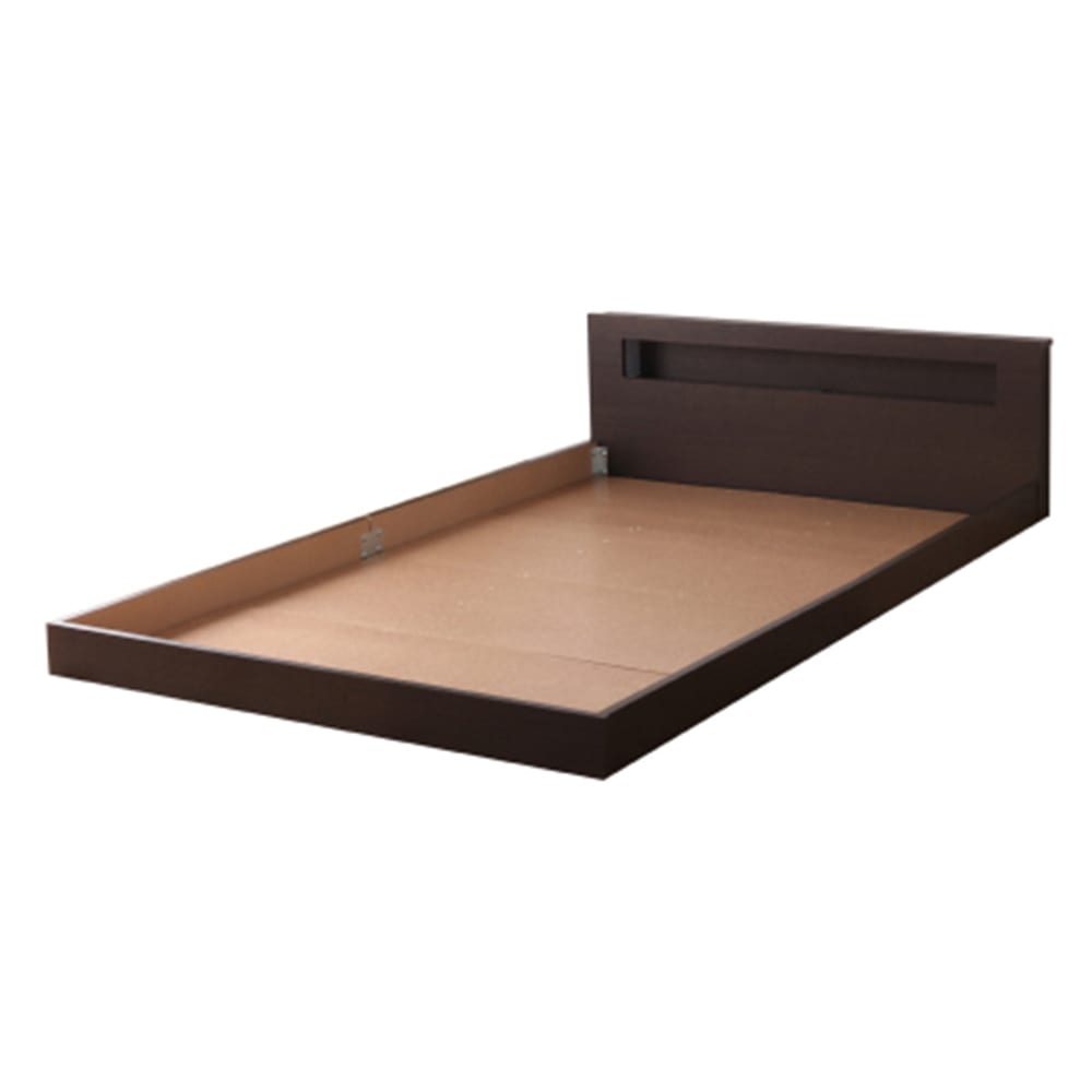 並べて使えるフロアベッド お得な2台セット(ポケットコイルマットレス付き) (ア)ブラウン ※写真はセミダブルです。