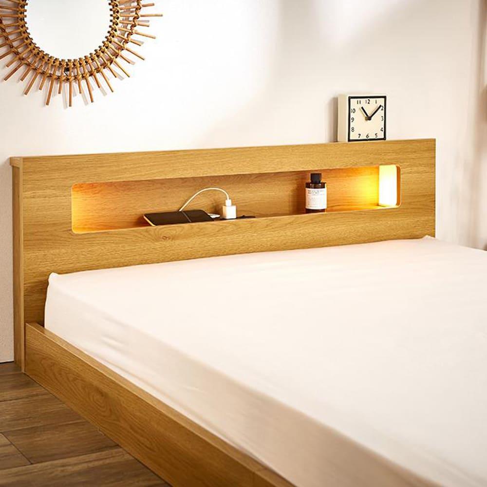 並べて使えるフロアベッド お得な2台セット(ポケットコイルマットレス付き) ほのかな明かりの照明付き。