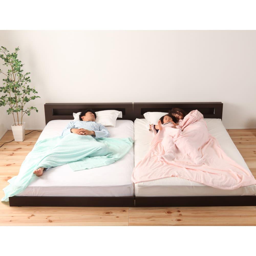 並べて使えるフロアベッド(ポケットコイルマットレス付き) 連結したり、離したり、家族の変化に応じて使えます。