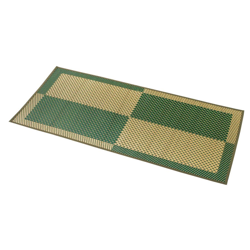 紋織い草ラグ「まどか」(裏なし/裏付き/ふっくらタイプ) (イ)グリーン系 ※写真は約95×190cmタイプです。