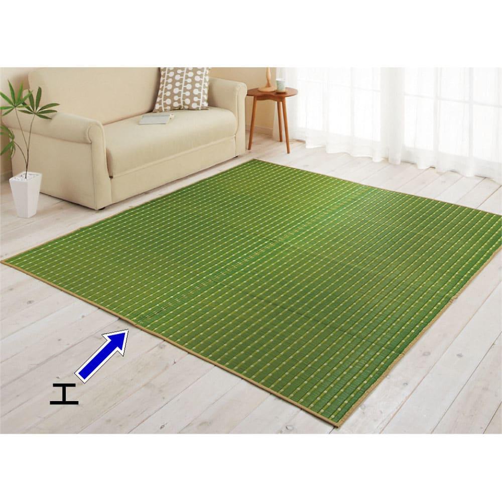 掛川織い草上敷き「MODERN」 1畳~8畳タイプ(イージーオーダー) (エ)グリーン ※写真はラグ約190×190cmです。