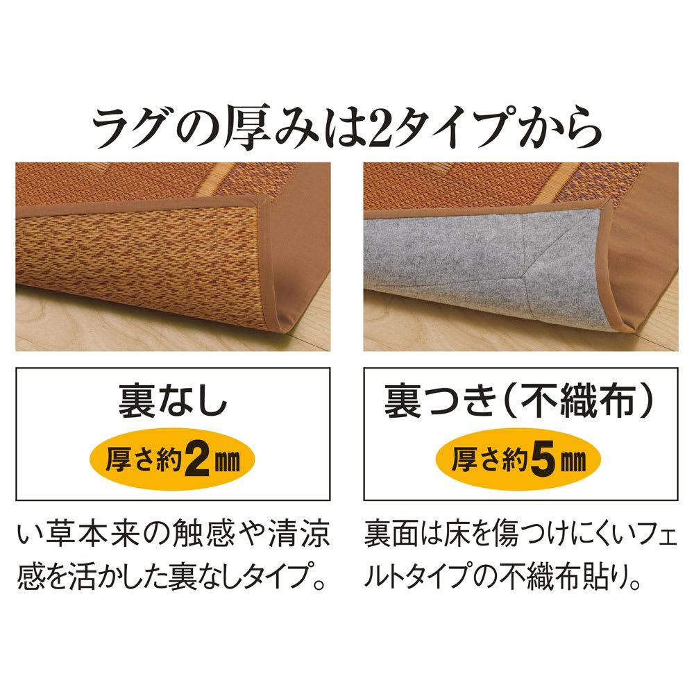 紋織りい草ラグ裏なし・太ベリ〈ランクス〉 裏なしタイプと裏付きタイプの2種類かあります