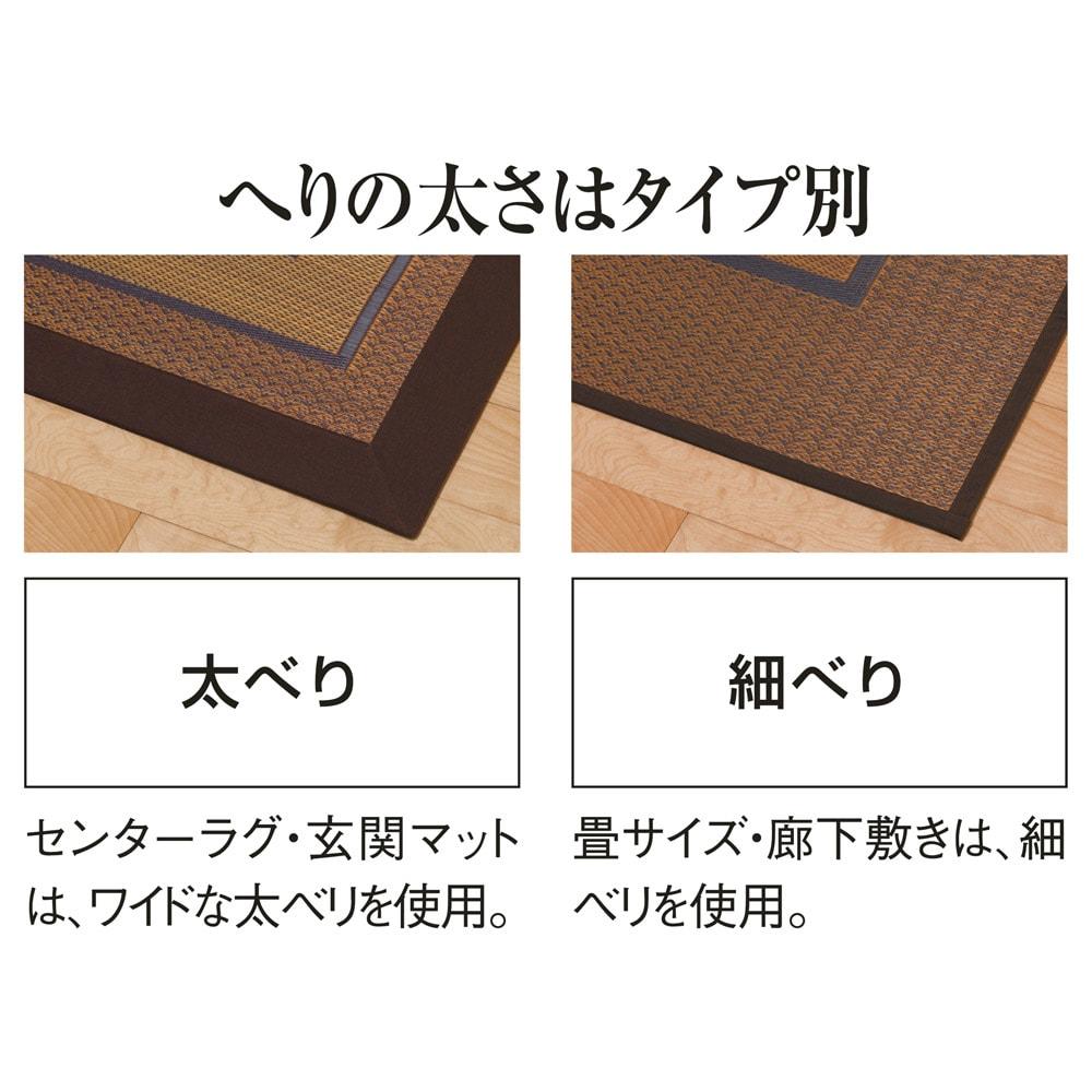 紋織りい草ラグ裏付き・太ベリ〈ランクス〉 別売りの上敷きはすっきりとした細べりタイプ。