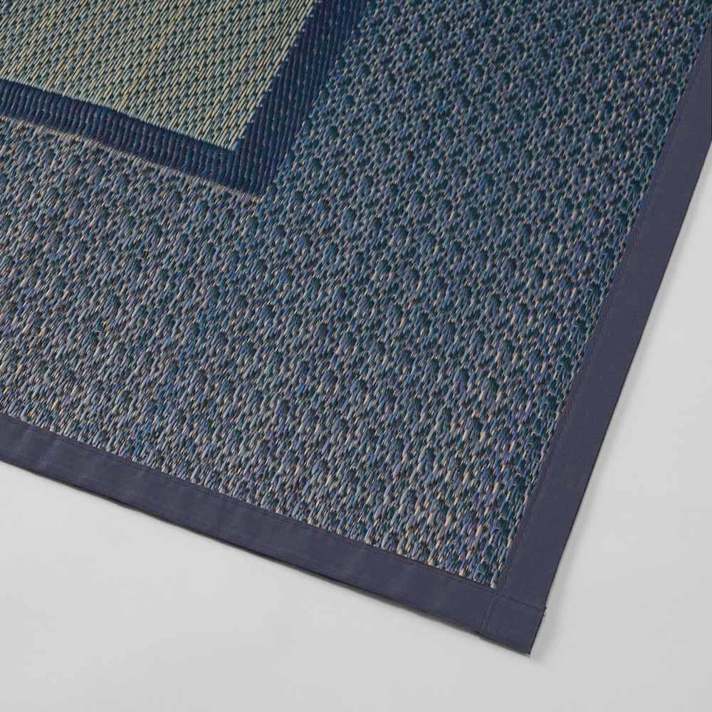 紋織りい草上敷き裏付き・細べり〈ランクス〉 素材アップ(ウ)ブルー系