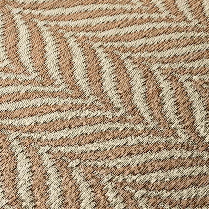 ヘリンボーン柄い草ラグ(裏付き厚さ約8mm) (ア)ベージュ系 生地アップ