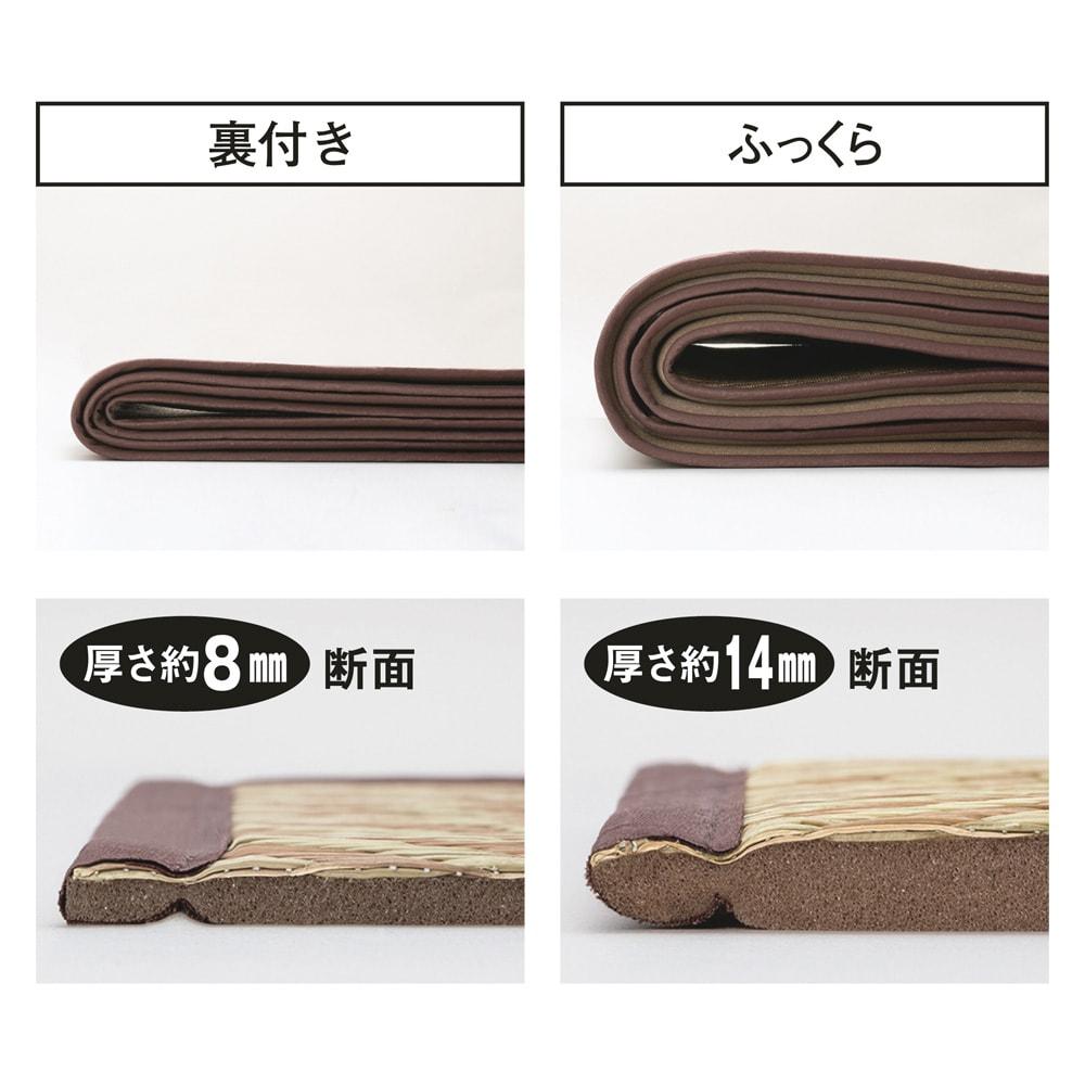 ヘリンボーン柄い草ラグ(裏付き厚さ約8mm) (ア)ベージュ系