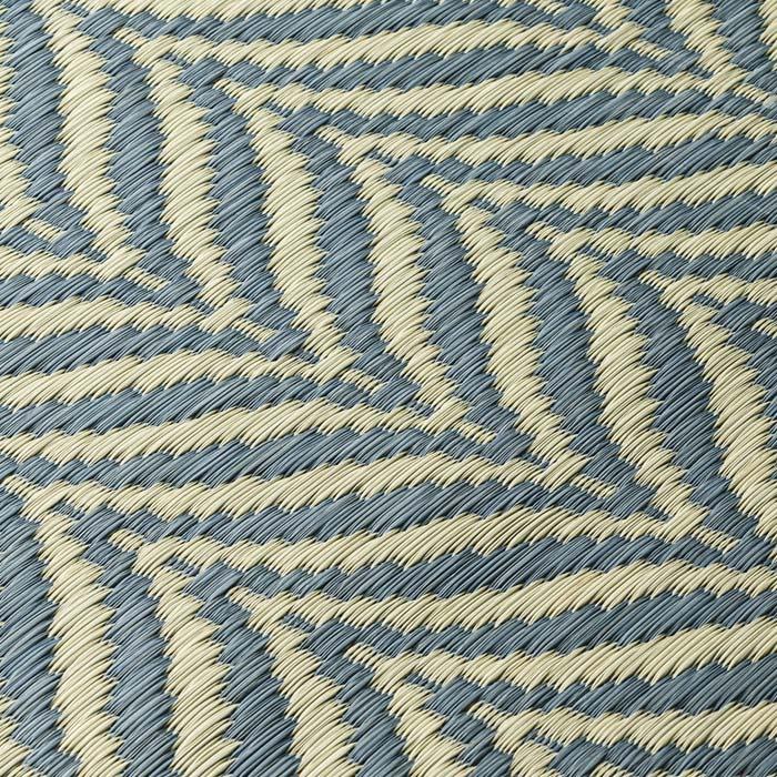 ヘリンボーン柄い草ラグ(ふっくら厚さ約14mm) (イ)ブルーグレー系 生地アップ