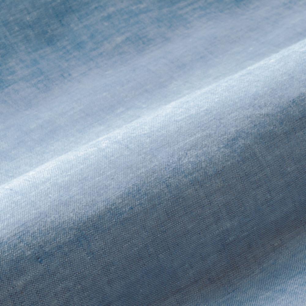 洗えるリネンのふんわりキルトクッションカバー 同色2枚組 (イ)ブルー