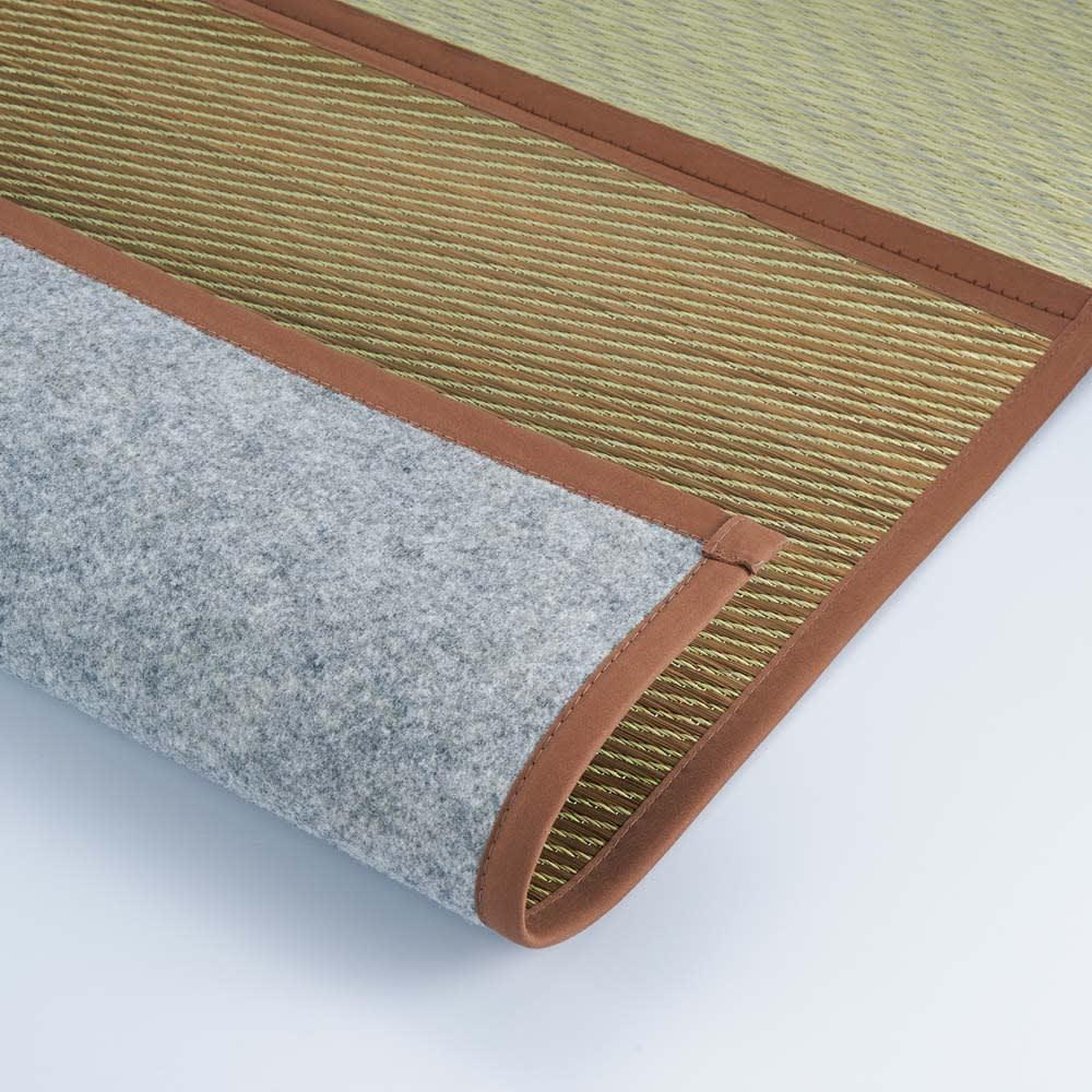 折りたためるい草ラグ(裏つき/厚手裏付き) 【裏つき】厚さ約5mm