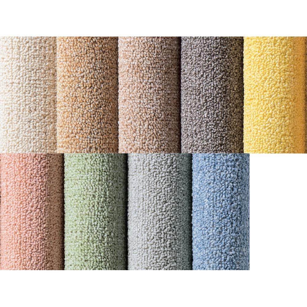 色が選べる機能充実カーペット 左から(ア)アイボリー(イ)ベージュ(ウ)ブラウン(エ)ダークブラウン(オ)イエロー(カ)コーラル(キ)グリーン(ク)シルバー(ケ)ブルー