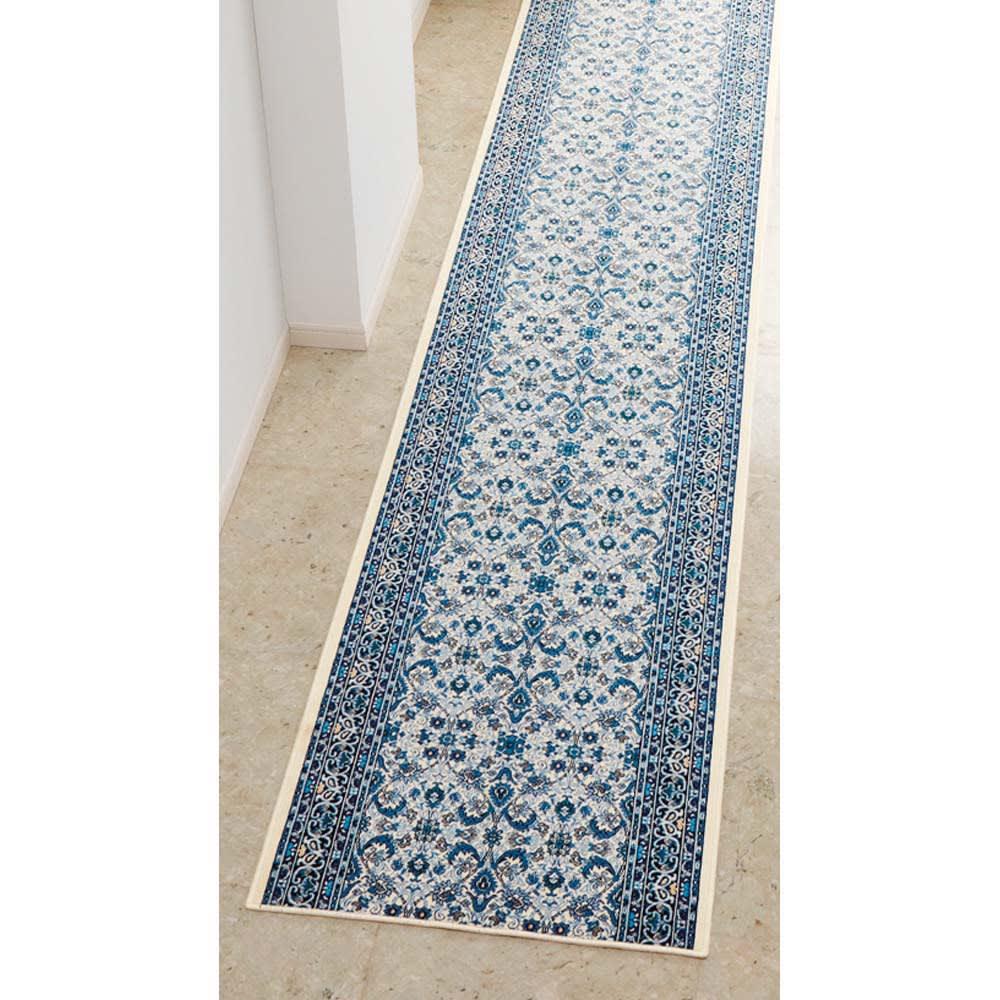 ポーロモケット織廊下敷き 幅67cm (オ)ブルー系