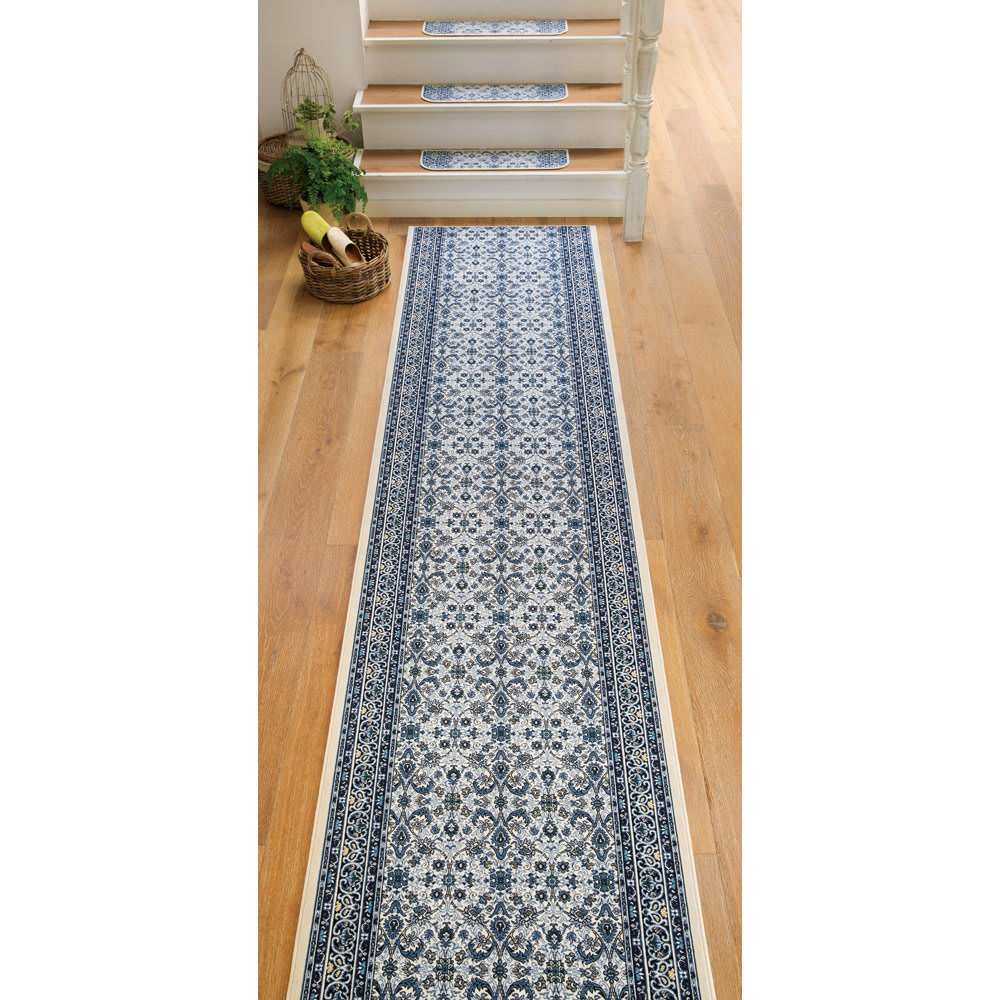 ポーロモケット織廊下敷き 幅80cm (オ)ブルー系