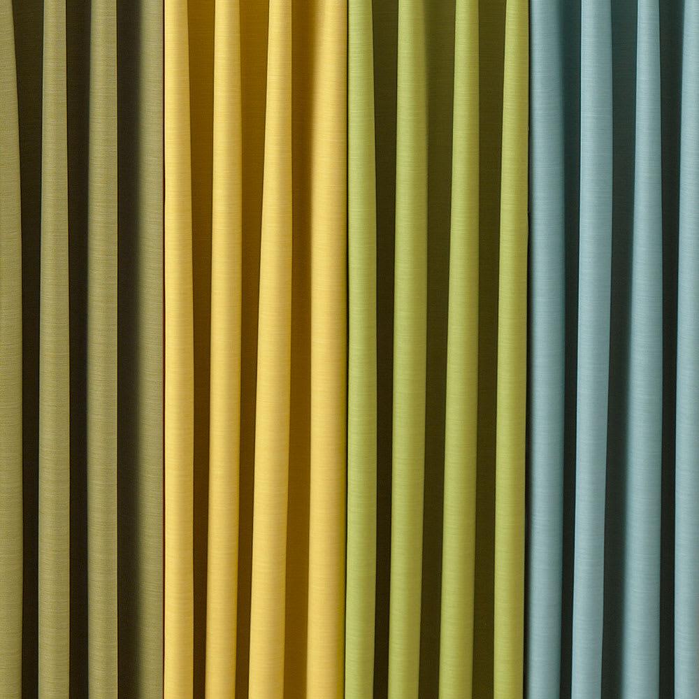 形状記憶加工多サイズ・防炎・1級遮光カーテン 150cm幅(2枚組) 左から(ク)オリーブ(キ)イエロー(カ)イエローグリーン(オ)アクアブルー