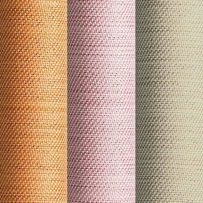 形状記憶加工多サイズ・防炎・1級遮光カーテン 150cm幅(2枚組) 左から(エ)ライトオレンジ(ウ)ピンク(イ)ライトベージュ