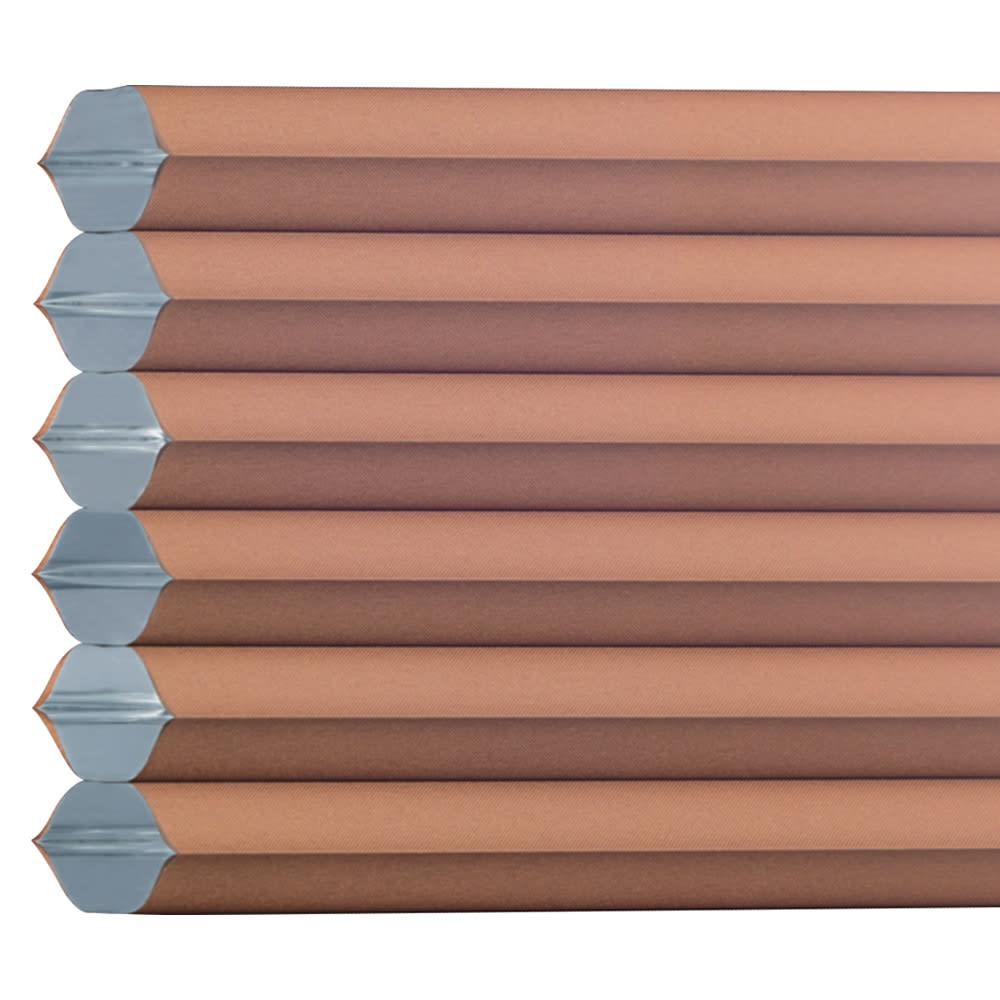 遮光・断熱ハニカム構造の小窓用シェード(つっぱりポール付き)【生地幅35cm・59cm】 (エ)ブラウン