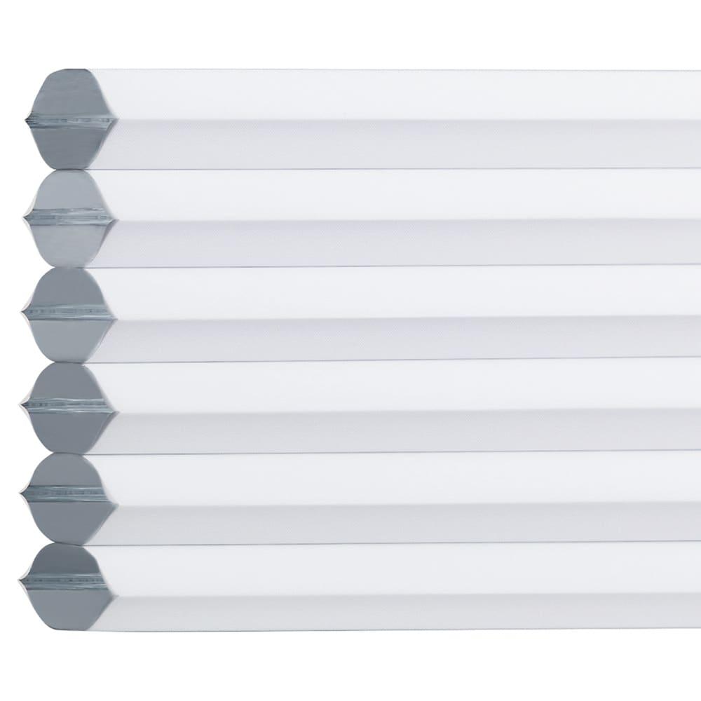 遮光・断熱ハニカム構造の小窓用シェード(つっぱりポール付き)【生地幅35cm・59cm】 (ウ)ホワイト