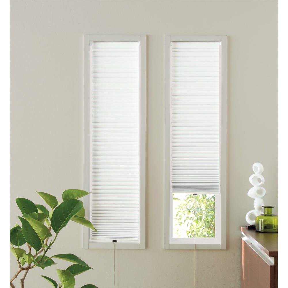 遮光・断熱ハニカム構造の小窓用シェード(イージーオーダー)(1枚) (ウ)ホワイト 幅が狭い窓にも、イージーオーダーでピッタリサイズを注文できます。