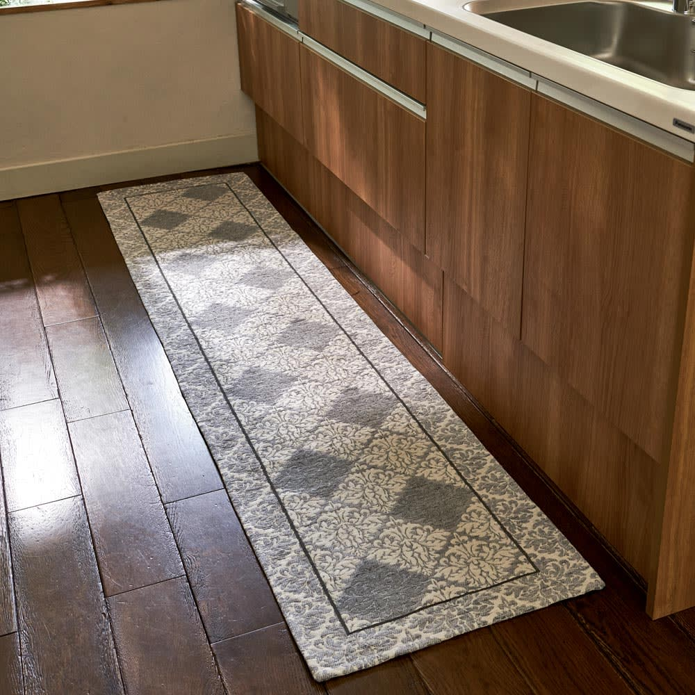 イタリア製ジャカード織キッチンマット〈ダマスク〉 幅65cm (ア)ライトグレー系 ※写真は約55×240cmサイズです。