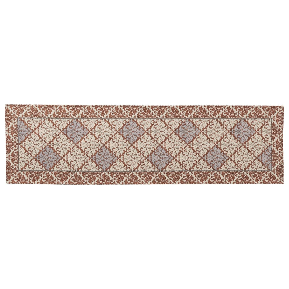 イタリア製ジャカード織キッチンマット〈ダマスク〉 幅65cm (イ)ブラウン系 ※写真は約65×240cmサイズです。