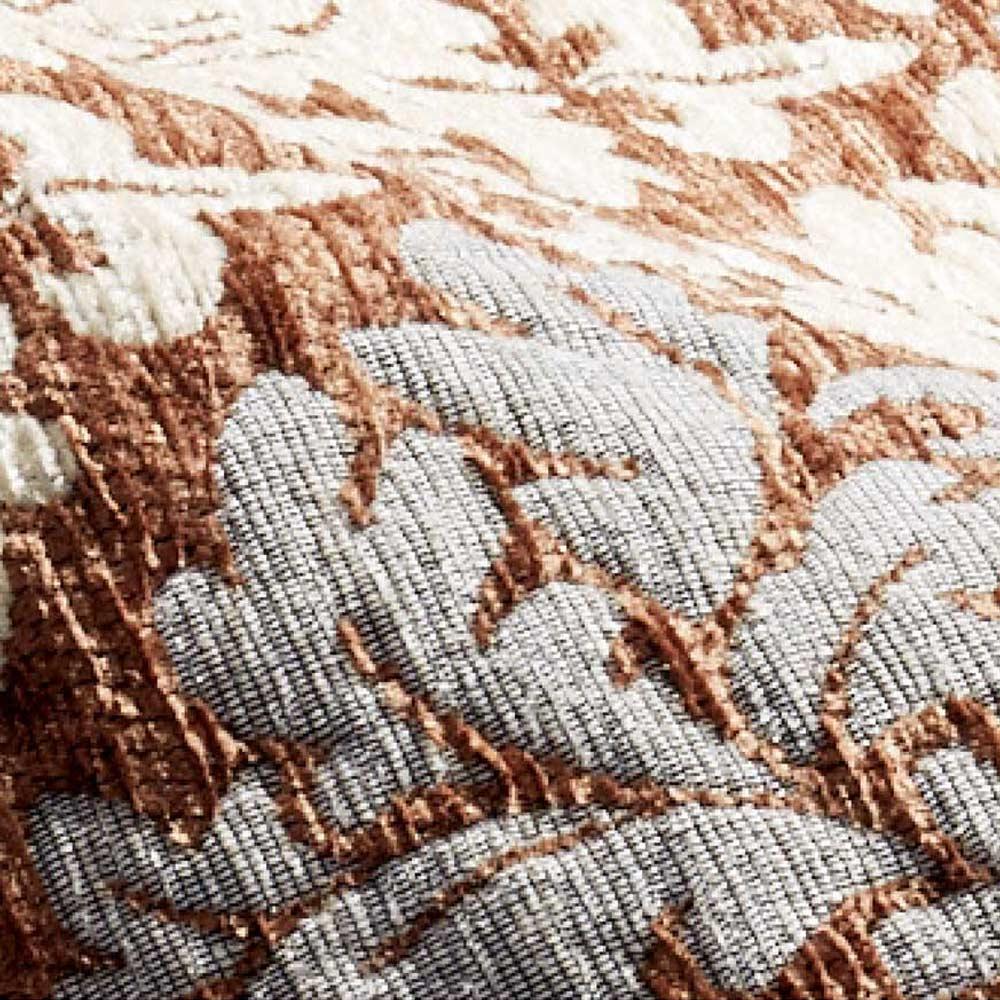 イタリア製ジャカード織キッチンマット〈ダマスク〉 幅65cm 素材アップ(イ)ブラウン系 ※毛羽のあるシェニール糸をふんだんに使っています。