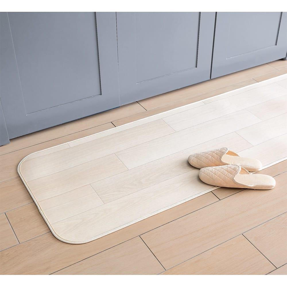 サンゲツ プリントキッチンマット モロッカン柄 サイズ見本:幅約50cm ウッド調(ア)ホワイト ※お届けはモロッカン柄になります。