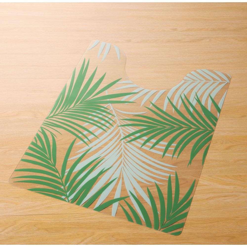 塩ビプリントトイレマット<アレカヤシ> (ア)グリーン系(写真は大判約60×80cm)