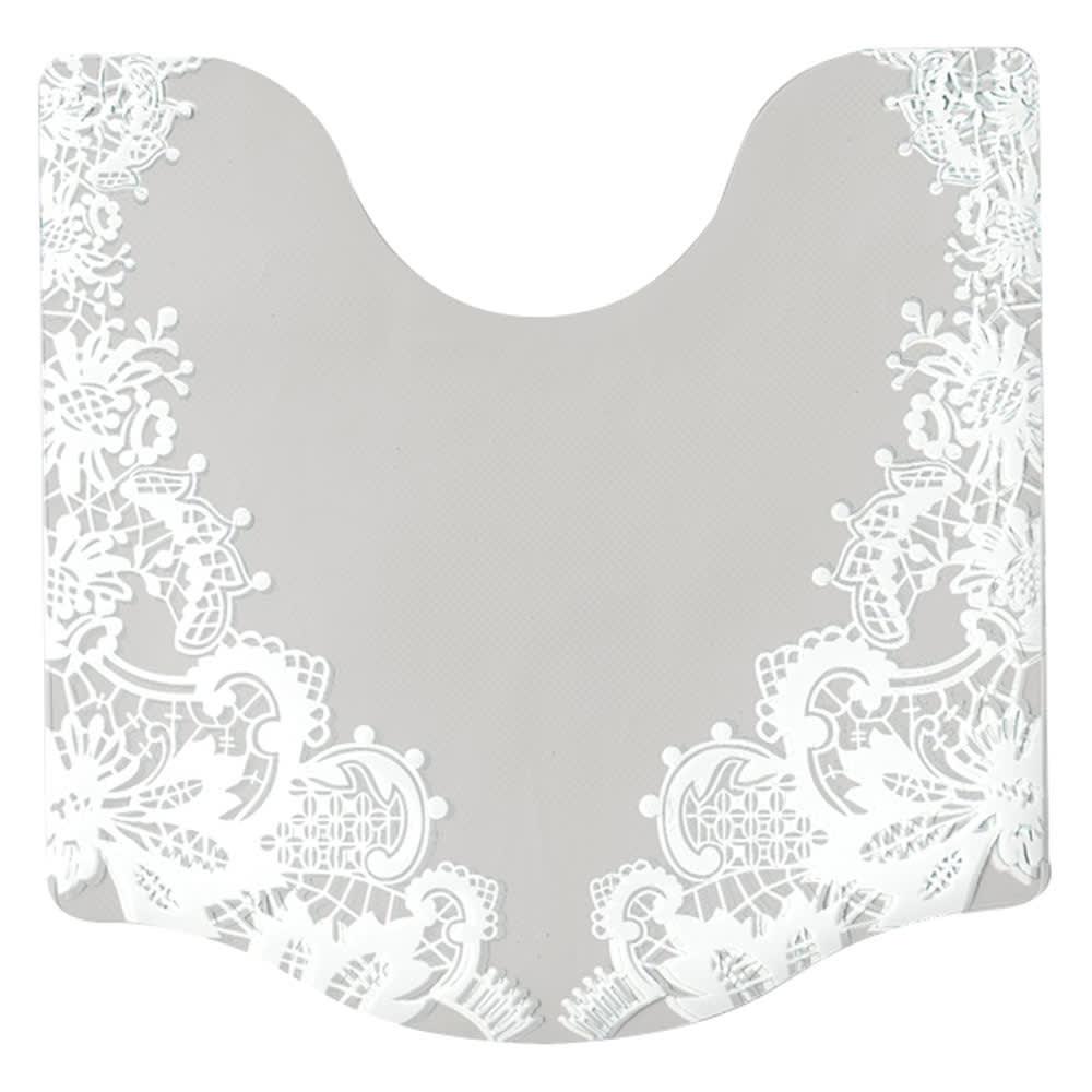 変形プリントトイレマット〈レース〉 (ア)ホワイト系 大判 ※写真はグレー系の床に置いています。グレーに見える部分は透明になります。