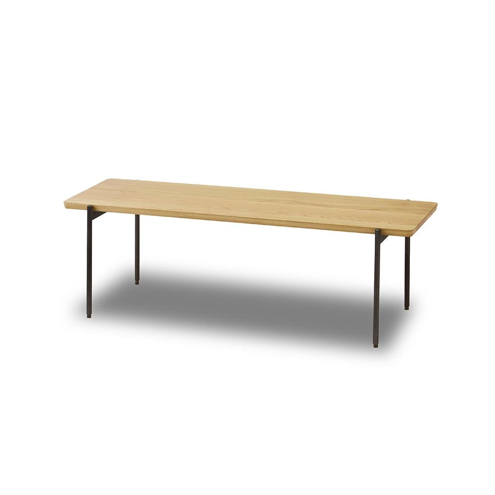 北欧調 スタイリッシュソファシリーズ リクト天然木センターテーブル オーク 無垢材の天板とすらっと伸びたグレースチール脚のおしゃれなテーブル。