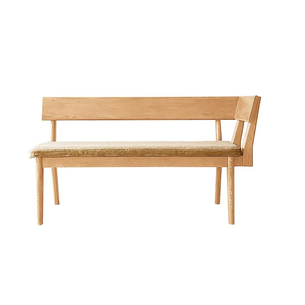 ナチュラルリビングダイニングシリーズ 座って左肘カウチ(洗える座面カバー付き) (イ)木部=ナチュラル・座部=ベージュ