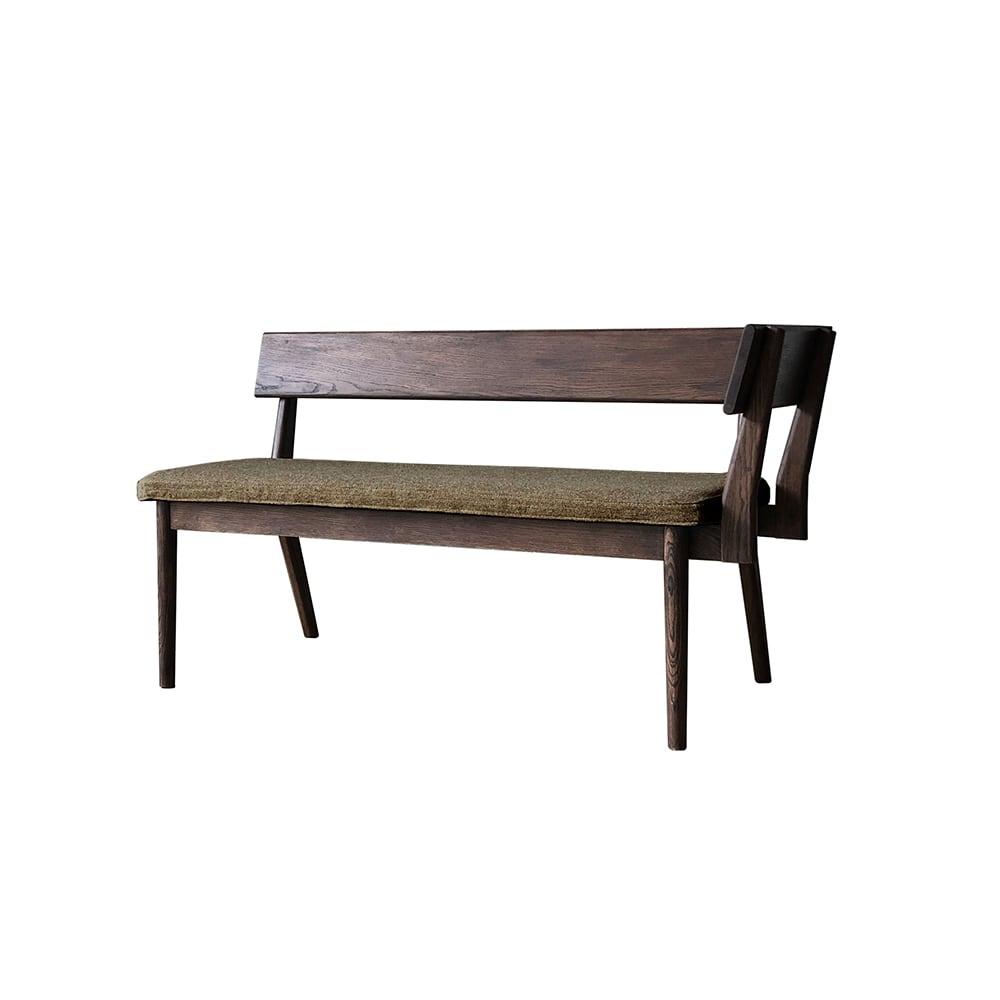 ナチュラルリビングダイニングシリーズ 座って左肘カウチ(洗える座面カバー付き) (ウ)木部=ブラウン・座部=セピア