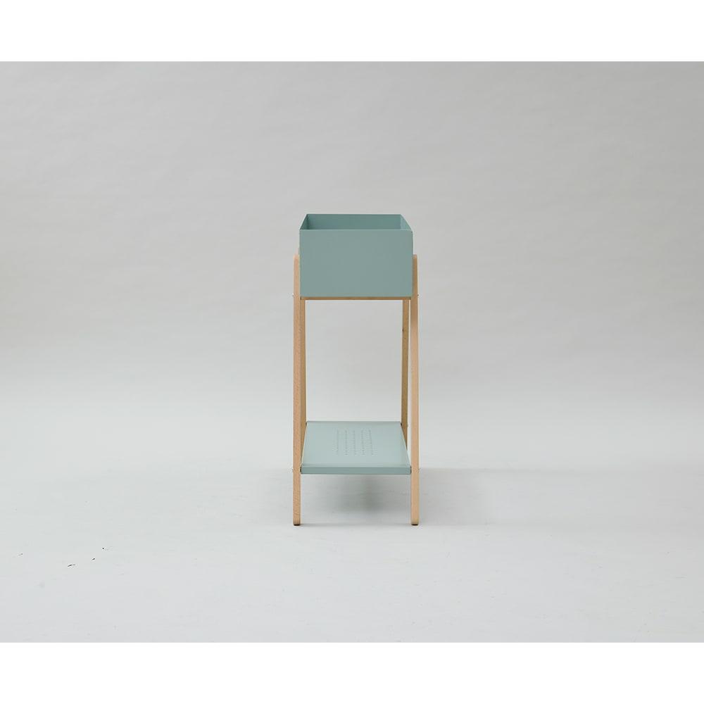 北欧デザイン棚付きプランターラック (ア)グリーン